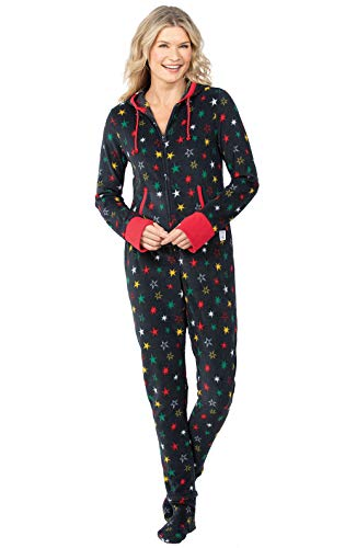 PajamaGram Adult Onesies for Women - Fleece Onesie Pajamas, Black, Large (12-14)