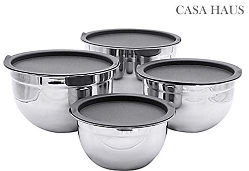 Casa Haus, Stainless Steel German bowl set of 4 Piece with 4 different sizes- 1,1.5,3 & 5 Quart.