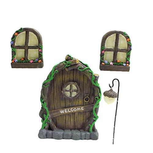 RRunzfon Escultura Miniatura Hada GNOME Ventana de la Puerta Principal de la Resina Jardín caprichoso de la decoración del árbol de la Escultura por YardPleasing Decoraciones de jardín