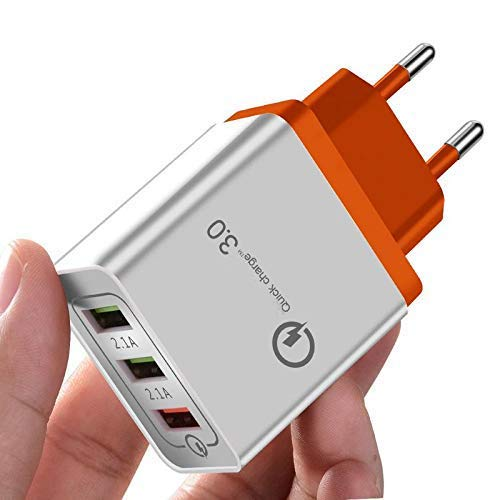 BRIX Quick Charge 3.0 Wall Charger, 3 Ports Travel USB Phone Charger Plug Fast AC Power Adapter QC 3.0 by Sky Castle for Smart Phone Samsung Galaxy S8/S7/S6/Note, iPhone X/8/8 (Orange)
