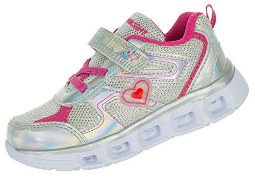 Beppi Kinderschuhe Leuchtend Sportschuhe | Mädchenschuhe Glitzer LED Schuhe bequem | Blinkschuhe Sport Sneaker Turnschuhe Silber | 27