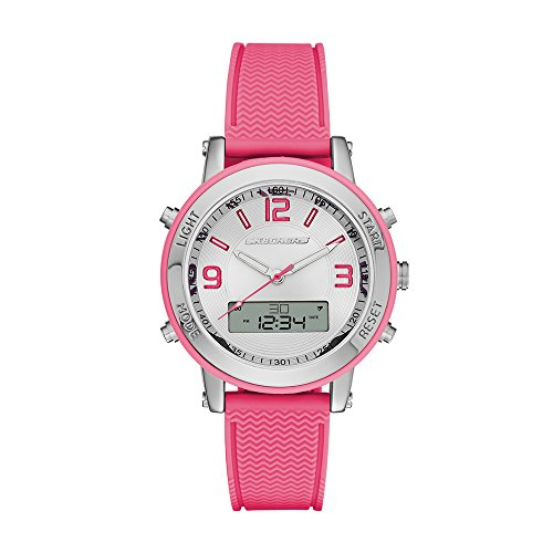 Skechers Women's Lynngrove Analog Silicone Digital Watch, Color: Silver, Pink (Model: SR6002)