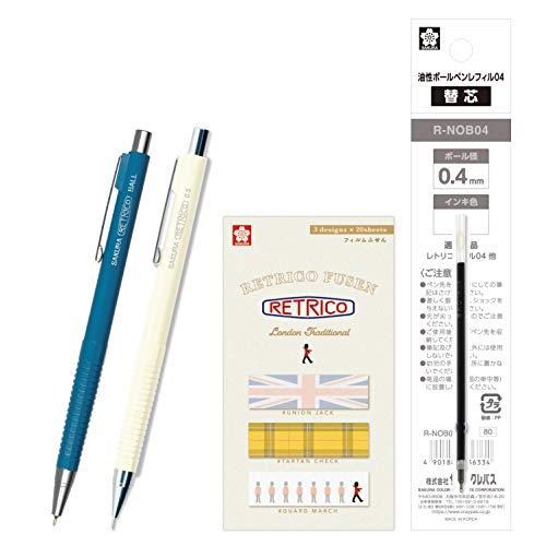 サクラクレパス 油性ボールペン レトリコ 替芯+付箋+シャープセット A柄 クラウディブルー NOB304R#40RA