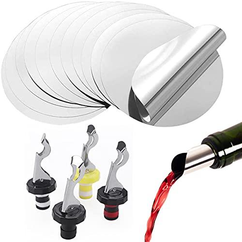 Mengger 50Pcs Láminas antigoteo Vino Discos Vertedor de Vino alcohol Boquillas antigoteo Accesorios para Reutilizable Pourer Wine Pourer Slice Con 4PCS Tapones para Botellas