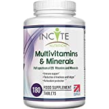 Multivitamins and Minerals | 180 Vegan Tablets | 26 Key Vitamins and Minerals for Women and Men | 6 Months Supply | Multivitamin Supplements 1 a Day Serving | Made in The UK by Incite Nutrition
