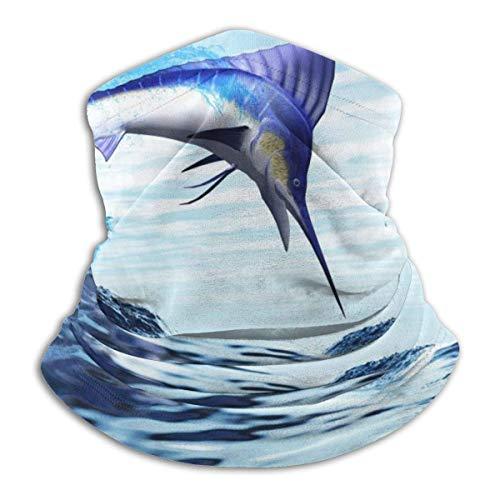 ~ Beautiful Blue Marlin Sun UV Protection Neck Gaiter Mask Magic Face Cover Scarf Dust Wind Bandana Balaclava Headwear for Fishing Hiking Cycling