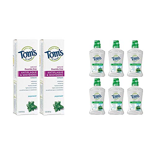 Tom's of Maine Fluoride-Free Antiplaque & Whitening Toothpaste, Whitening Toothpaste with Tom's of Maine Wicked Fresh! Mouthwash, Natural Mouthwash, Cool Mountain Mint, 16 Ounce, 6-Pack