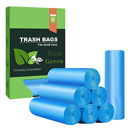 Small Trash Bags 4- 6 Gallon Biodegradable Garbage Bags,Unscented Leak Proof Compostable Bags Wastebasket Liners for Office,Home,Bathroom, Bedroom,Car,Kitchen,Pet (100 Counts, Blue)