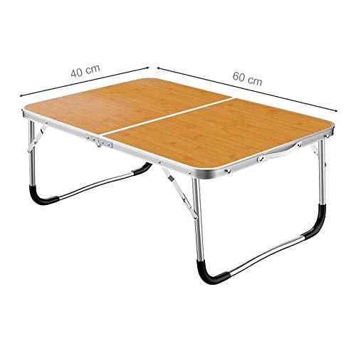 Escritorio para portátil de aleación de aluminio, escritorio plegable para dormitorio simple, escritorio simple en la cama de la oficina, marrón