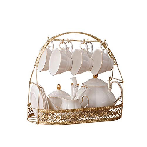 fanquare 15 Pieces Simple White English Ceramic Tea Sets,Tea Pot,Bone China Cups with Metal Holder Matching Spoons,Afternoon Tea Set Service Coffee Set