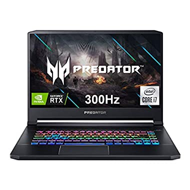 Acer Predator Triton 500 PT515-52-73L3 Gaming Laptop, Intel i7-10750H, NVIDIA GeForce RTX 2070 SUPER, 15.6″ FHD NVIDIA G-SYNC Display, 300Hz, 16GB Dual-Channel DDR4, 512GB NVMe SSD, RGB Backlit KB