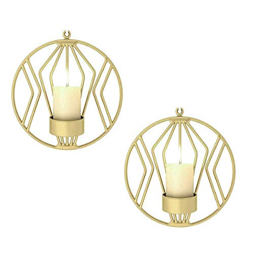 Queta Schmiedeeiserne Wanddekoration, Wandteelichthalter Kerzenständer 3D Geometrische Rund Metall Kerzenleuchter 19cm, Beleuchtung Dekoration für Wohnzimmer Esszimmer Bar, Gold