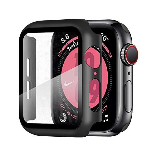 Wenearn Compatibile con Apple Watch 44mm Custodia PC + Pellicola Protettiva, Thin Fit Progettato per Apple Watch 44mm Series 6/SE/5/4 Case Cover [Copertura Completa] [HD Clear] [Anti-Graffio], Nero