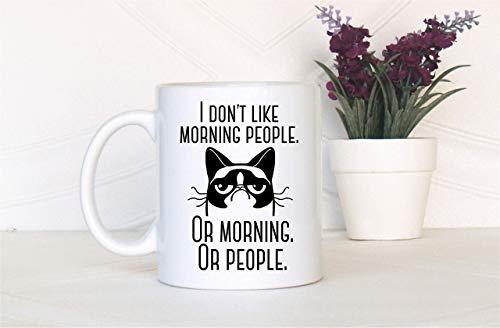 N\A No me Gusta la Gente de la mañana Grumpy Cat Regalo de la Gente de la mañana Taza Divertida Taza de café Divertida Taza de la Gente de la mañana Taza de Gato gruñón Navidad