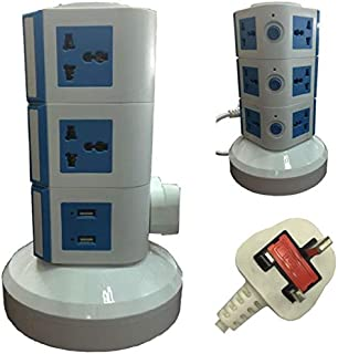 4-Way Universal Vertical Extension Socket with 2 USB Ports, 3 Layers, Blue