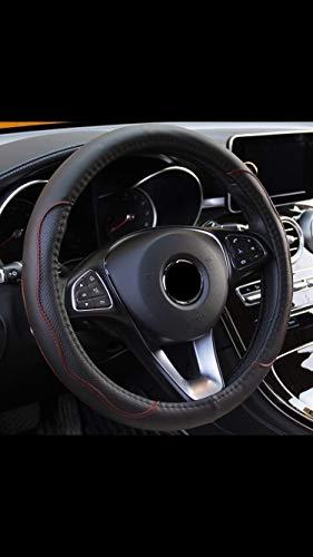 Funda para volante OEZ Germany, de piel sintética, 37-38 cm, antideslizante, color negro y rojo