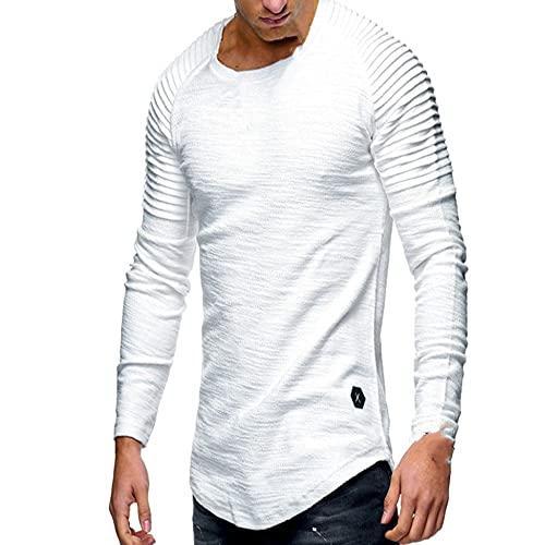 N\P Color sólido plisado parche detalle manga larga camiseta hombres Casual top Slim fit