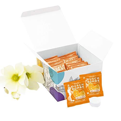 WALTZ7 aromatische Duschbombe Duft Orange 16 Stück Duschbad Aromatherapie Wellness Geschenk für Damen und Herren Duschtab Ätherische Öle