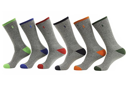 Polo Ralph Lauren 6-Pack Technical Sport Grey Socks, Assorted Grey, Size 10.0