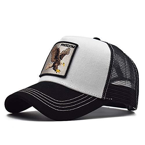 Gorra Animal Embroidered Cómoda Tela Elástica Gorra De Béisbol Malla Transpirable Gorra Velcro Ajustable Gorros Casuales Gorras De Béisbol Hip Hop Caza Pesca Águila-Blanca