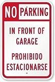 Judascepeda Señal de Advertencia No estacionarse en Frente del Garaje, Prohibido Estacionarse Señal Señal de tráfico Señal Comercial 12 x 16 Pulgadas Cartel de Chapa metálica de Aluminio