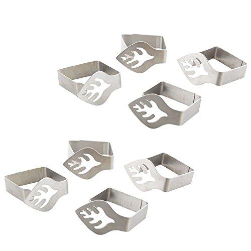 com-four® 8x Premium Tischtuchklammern aus Edelstahl, Tischklammern für drinnen und draußen, mit Dekor auf den Tischklemmen (08 Stück/Blatt)