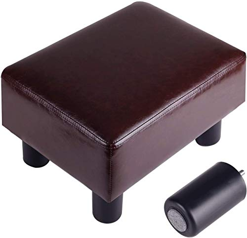 Footrest Small Ottoman Stool PU Faux Leather Modern Rectangle Seat Chair Footstool, Brown