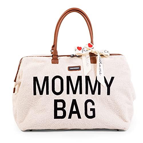 CHILDHOME, Mommy Bag, bolso para pañales, maternidad, bolsa de viaje, gran capacidad, alfombra para pañales, correa ajustable, compartimento, bolsillo isotérmico, pasaje para maleta, teddy crudo