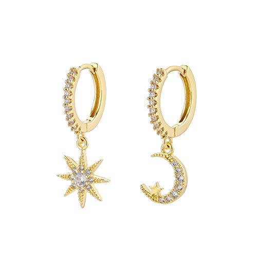 DFDLNL Ear Cuffs para Mujer Moon Star Pendiente de aro asimétrico para Mujer Gold