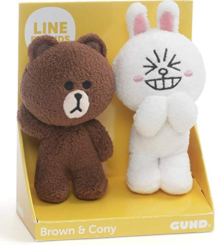 """GUND LINE Friends Plush Stuffed Animal, Brown and Cony Set of 2, 4"""""""