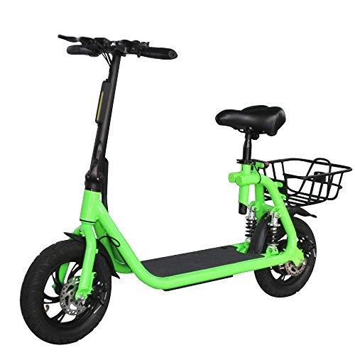 CHHD Scooter eléctrico para Adultos Bicicleta eléctrica Plegable 350W Motor 36V 10.2AH Batería de Iones de Litio Pantalla LED para Adultos Hombres Mujeres (Negro)