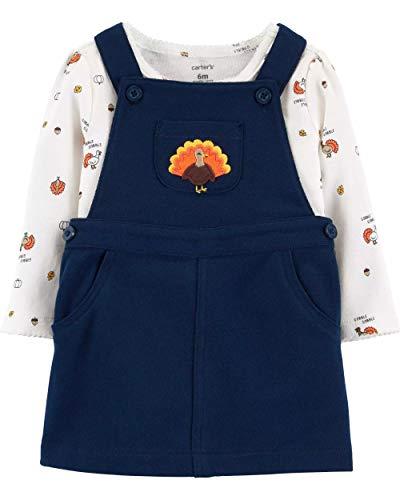 Carter's Baby Girls 2-Piece Thanksgiving Bodysuit & Jumper Set (Newborn, Navy/Vanilla Cream)