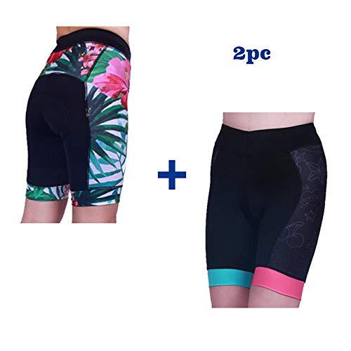 LIKEJJ Bike Shorts ,Outdoor Mountain Road Bike Women's Cycling Shorts Non-Slip Silicone Pants pad-B+C_M