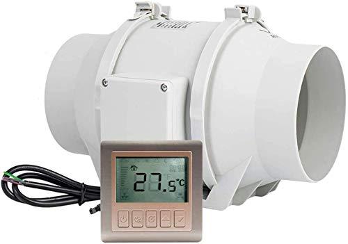 HG Power Inline-fläkt, 6 tum timer-extraktorkanalfläkt med styrenhet ventilationsfläkt för kök, odlingstält, verkstad, hydroponik (?150 mm)