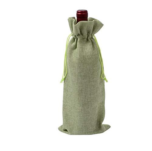 HMILYDYK Bolsas para botellas de vino, bolsas de regalo para bodas, fiestas, bolsas de regalo con cordón para botellas de 750 ml, 30 unidades de color verde