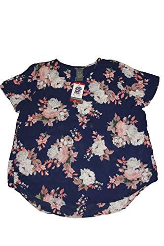 Chelsea & Theodore Womens Short Sleeve Hi-Low Round Hem Dressy Blouse Tops (Floral Navy, Medium)