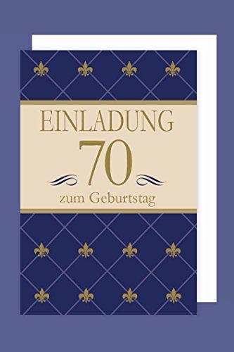 AvanCarte Einladungskarte 70 Geburtstag 5er Packung Blau Gold Foliendruck 5 Karten 15x11cm