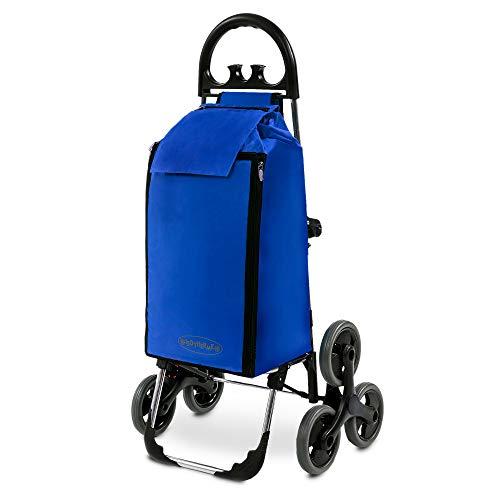 Treppensteiger Einkaufstrolley Seena in blau mit 50L & Kühlfach - Einkaufsroller Trolley bis 30kg belastbar - Gewicht nur 2.5kg