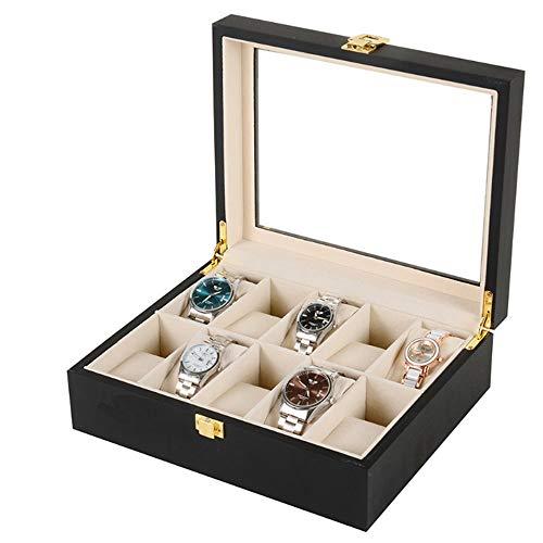 Yingm Soporte para Relojes de Caja de Almacenamiento Negro joyería de Madera Lacado Caja de 10 bits Caja de Reloj de visualización Caja de Almacenamiento Caja de Regalo Regalos para Hombres Y Mujeres