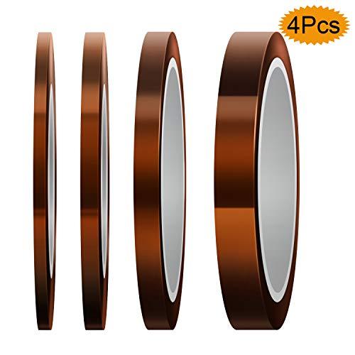 LUTER 4 rollen hittebestendig plakband hoge temperatuur isolatietape polyimid tape voor sublimatieprint, golfsolderen, 3D-printer (3 mm / 5 mm / 8 mm / 12 mm x 33 m, Tawny)