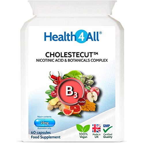 Vitamin B3 Niacin (Nicotinic Acid) 25mg & Botanicals Complex 60 Capsules (V) Cholestecut Made by Health4All