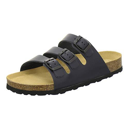 AFS-Schuhe 3133, Bequeme Pantoletten für Herren mit Fussbett, sportliche Sandalen aus Leder, Arbeitsschuhe Made in Germany (42 EU, blau/Navy)