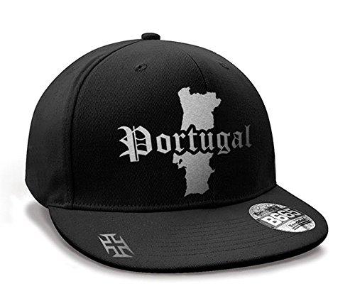 Casquette Hip Hop Portugal Mini Pays Noir et Argent Métallisé