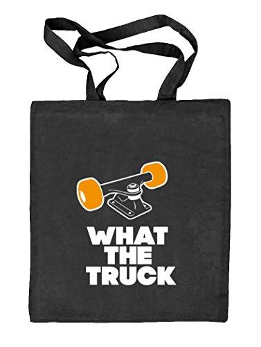 What The Truck, Skateboard Longboard Natur Stoffbeutel Jute Tasche (ONE SIZE), Größe: onesize,schwarz natur
