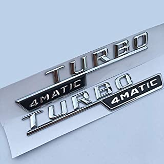 XiYon Letter Emblem Turbo 4matic AMG Badge Fender Supercharge Logo Car Styling Sticker para Mercedes Benz AMG Glossy Black 2014-2016, Cromo 2014-2016,4MATIC Logo