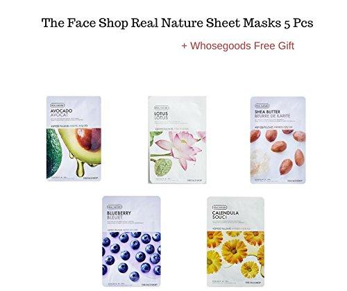 The Face Shop Real Nature sheet masks 5 pieces + FREE GIFT (Shea Butter, Lotus,BlueBerry,Calendula,Avocado)