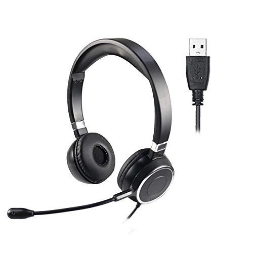 Cuffie - Cuffie USB Cablate con Microfono con Antirumore per PC Computer PC Laptop Cuffiette On Ear, per Call Center Skype Chat Conference Call Videoconferenza Ufficio