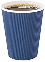 12 Ounce Paper Coffee Cups, 25 Ripple Wall Disposable Paper Cups - Leakproof, Recyclable, Midnight Blue Paper Hot Cups, Insulated, Matching Lids Sold Separately - Restaurantware