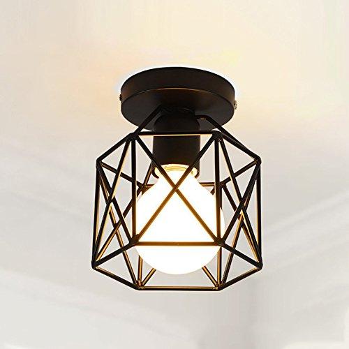 Lámpara de techo de estilo clásico industrial, iluminación nórdica, de metal, estilo retro, uso de bombillas E27 (bombilla no incluida) para sala de estar,...