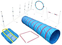 "Features a 36"" wide adjustable bar jump, 6 Weave Poles, Tire jump, 36"" square pvc Pause Box and 9 ft tunnel with 22"" diameter. Lightweight, adjustable, pvc obstacles. Bar jump is 36"" wide w/adjustable jump height up to 26"". Weave poles spaced at 24"" ..."